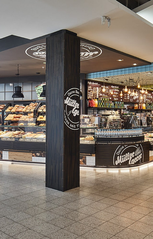 Division into two separate areas: bakery and snack counter